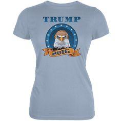 Election 2016 Donald Trump Bald Eagle toupee Light Blue Juniors Soft T-Shirt
