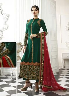 Great craftmanship of embellishments exhibited in this Bottle Green Georgette Unstitched Pant Suit. The lovely Lace & Resham work a substantial attribute of this attire. Buy Online Exclusive Designer Pant Suit, Party Wear, Wedding Wear, Pantsuit, dress material, Ceremonial Wear, Pantsuits, Indian Suit, Suits, Shuits For women. We have large range of Designer Pant suit designs Online in our website with the best pricing and unique designs shipping to World Wide.