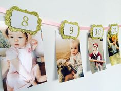 Boy and Girl photo banner | Birthday banner | Pink and Gold glitter - First birthday Inspired by Alma - Inspired by Alma Inspired by Alma - Inspired by Alma 12 months banner - Party decorartions, cake toppers, cupcake topper, confetti, iron on, outfit, straws, decor, first birthday party decorations.,