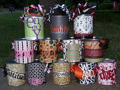 Altered paint cans by Elissa