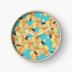'Honeycombs' Clock by amayabrydon Modern Prints, Art Prints, Quartz Clock Mechanism, Free Stickers, Hand Coloring, Honeycomb, Clocks, Printed, Awesome