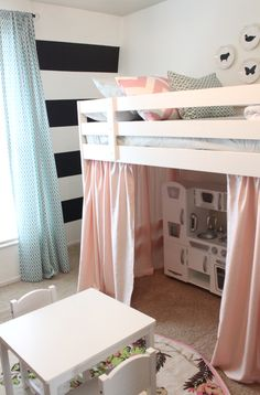 Loft bed and play house....love the colors