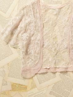 Vintage 1950s Pink Lace Cropped Dancer Shrug