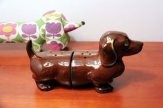vintage Dachshund Salt and Pepper Shakers  large by lonelybear