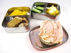 Easy lunch box ideas: Everything bagel with cream cheese and deli turkey; cucumber; mango; squash roll with butter; and pumpkin pie