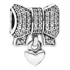 PANDORA Heart & Bow with Clear CZ Dangle-802-3139