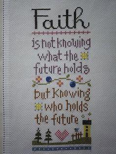 Faith, beautiful saying in cross stitch