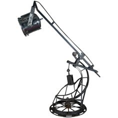 20th Century Large Industrial Floor Lamp with Hydraulic Cylinder France