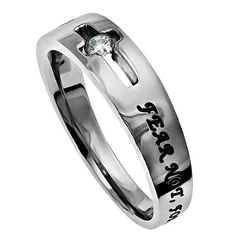 Christian: Take Comfort in God. Bible Quote Based on Isaiah 41:10. - Bible Verse: FEAR NOT, FOR I AM WITH YOU - JESUS (ISA. 41:10) - Style: Cut Out Cross Ring that Cradles a CZ stone. Band tapers from