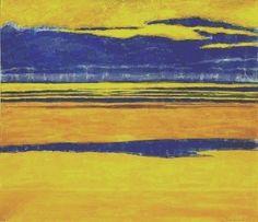 LEON SPILLIAERT : Marine jaune et mauve (1923) Aquarelle, gouache et pastel sur papier (52 x 60)