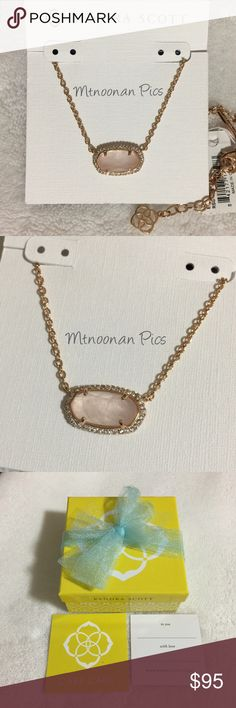 """Kendra Scott Lux Elisa Rose Quartz Pave Necklace NEW WITH TAGS Authentic Kendra Scott Lux Elisa Rose Quartz / Rose Gold Necklace  (Matching Elaine earrings also available for purchase, see last photo) • Includes gift box, dust bag, care card and gift tag • Rose Gold Plated Brass • Size: 0.63""""L x 0.38""""W stationary pendant, 15"""" chain with 2"""" extender • Material: Rose Quartz with Cubic Zirconia Crystal Pave  🎀 I have more KENDRA SCOTT, Check out my other items!  ❤ LIKE ME ON FACEBOOK…"""