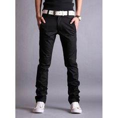 Simple Design Zipper Fly Solid Color Slimming Leather Splicing Narrow Feet Men's Cotton Blend Long Pants, BLACK, 34 in Pants | DressLily.com