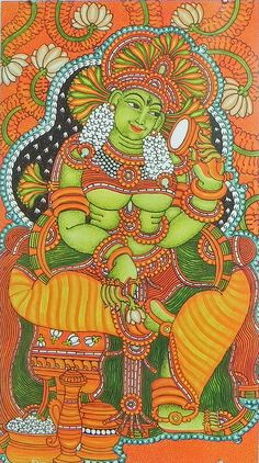 Mohini - Female Form of Vishna - Reprints of Temple Murals (Reprint on Paper - Unframed) Saree Painting, Kalamkari Painting, Kerala Mural Painting, Krishna Painting, Madhubani Painting, Fabric Painting, Painting & Drawing, Dance Paintings, Indian Paintings