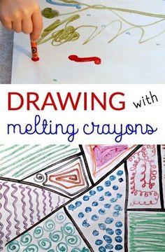 Melted crayon art project with a hot tray. Good for fine motor control.