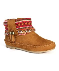 Loving this Bamboo Camel Brown Geometric Fringe Bootie on #zulily! #zulilyfinds