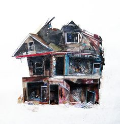 Abandoned, mixed media drawings by Seth Clark. Pittsburgh.
