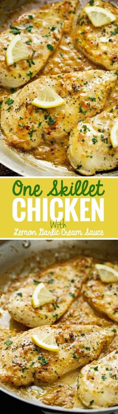 No oven. Pound thin. Cook in pan. With capers. Over spaghetti.   One Skillet Chicken topped with A Lemon garlic Cream Sauce - Ready in 30 minutes are perfect over a bed of angel hair pasta! #lemonchicken #skilletchicken #oneskilletchicken | Littlespicejar.com @littlespicejar