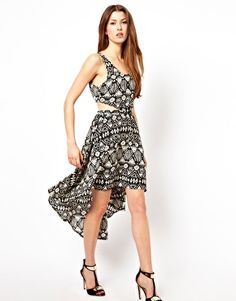 Image 4 of Club L Printed Dipped Hem Cut Out Dress