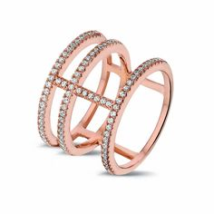 #Triple #Bar #Ring, Rose Gold. Made in 14 Carat Rose Gold Vermeil on #Sterling #Silver