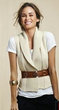 White vest, sweater and belt for women