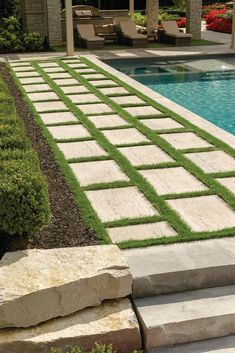 Connect your contemporary outdoor spaces in a modern fashion with these walkway landscaping ideas! Modern Backyard Design, Backyard Pool Designs, Backyard Landscaping, Terrace Design, Landscaping Ideas, Garden Pool, Terrace Garden, Pool Paving, Patio Slabs