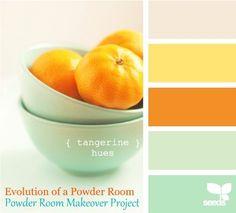 mint, yellow, tan and orange