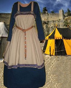 SCA Garb Norse Viking Medieval Costume Tan LINEN Navy Cotton Apron Kirtle2pc LXL #CamelotsCloset #NorseHistoricalMedievalEnsemble