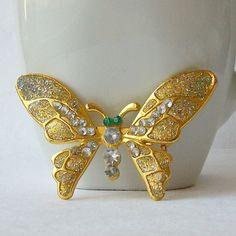 Vintage Butterfly Rhinestone Brooch by VintageSundries on Etsy