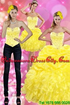 Most Popular and Detachable Yellow 2015 Quince Dresses with Beading and Ruffles