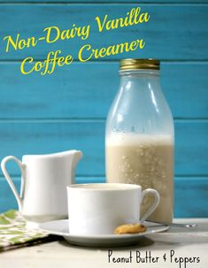 Non-Dairy Vanilla Coffee Creamer - A creamy thick, non-dairy creamer with the perfect vanilla flavor made from coconut milk. Only 21 calories for two tablespoons. *Can substitute cup sugar for + Truvia Non Dairy Coffee Creamer, Vanilla Coffee Creamer, Homemade Coffee Creamer, Vanilla Recipes, Coffee Recipes, Dairy Free Recipes, Vegan Recipes, Gluten Free, Delicious Recipes