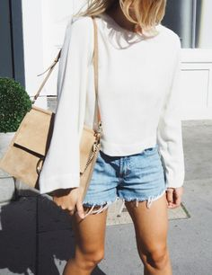 White long sleeve and cut offs