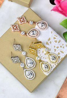 GOLD Crystal Bridal Earringsgold Bridal by thefabbridaljewelry