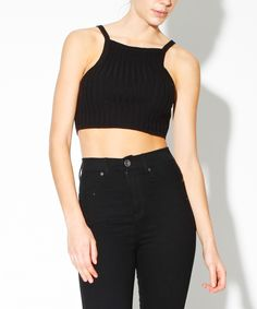 BLACK RIB KNIT CROP | Fashion Tops | Tops | Clothing | Shop Womens | General Pants Online