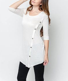 Love this White Side-Button Tunic by Caralase on #zulily! #zulilyfinds