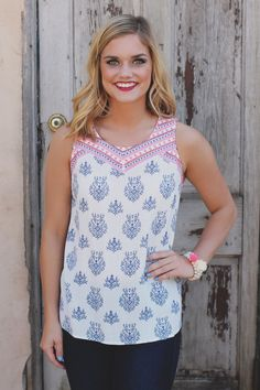 Neon Embroidered Damask Print Keyhole Sleeveless Top