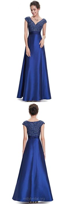 Blue Prom Dresses, Long Prom Dresses, Fashion V-neck Formal Dresses, Satin Beading Party Dresses, Cap Straps Ankle-length Evening Gowns