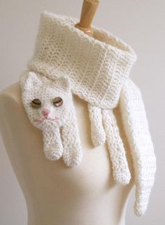 Cat Cuddler Scarf Crochet Pattern eagles374 - I would make this as roadkill squished cat!