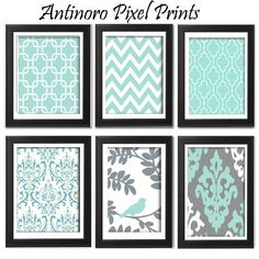 Vintage / Modern inspired Art Prints Collection (Series A) -Set of 6 - 8x11 Prints - Featured in Tiffany Blue Mint Grey (UNFRAMED). $55.00, via Etsy.