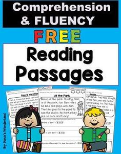 This FREE product contains three reading passages that you can use to practice reading FLUENCY and COMPREHENSION. They are offered in 2 versions so you can pick the version that works best for you. The students will: *read the passage 3 times and color First Grade Reading Comprehension, Reading Comprehension Worksheets, Reading Fluency, Reading Intervention, Reading Passages, Kindergarten Reading, Teaching Reading, Guided Reading, Comprehension Strategies