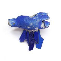 Blue stone brooch by Carolina Gimeno