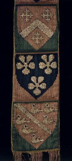 Ecclesiastical stole Place of origin: England, Great Britain (made) Date: 1290-1340 (made) Artist/Maker: Unknown (production) Materials and Techniques: Linen, embroidered in silver-gilt and silk thread Museum number: T.343-1921