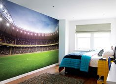Giant size Football Stadium wallpaper mural for kids. Decoration wall mural photo wallpaper for home interior walls. Express sipping available. Boys Football Bedroom, Soccer Bedroom, Football Rooms, Football Wall, Football Stadiums, Kids Football, Football Pitch, Football Field, Large Wall Murals