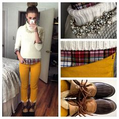 Jeans instead of yellow pants Duck Boots Outfit, Winter Boots Outfits, Fall Outfits, Cute Outfits, Outfit Winter, Pants Outfit, Cute Fashion, Fashion Outfits, Womens Fashion