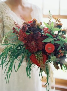Bohemian Fern and Burgundy Dahlia Bouquet