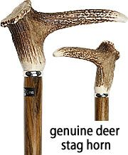 DashionableCane.com....Genuine Deer Stag Horn Walking Cane With Ovangkol Wood Shaft and Silver Collar
