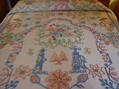 RARE Vintage Fieldcrest Folk Art Needletufted Chenille Bedspread http://www.etsy.com/shop/EarthSeaAndSky?ref=seller_info