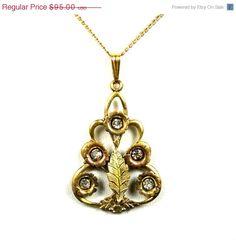 Vintage Art Deco Gold Filled Rhinestone Necklace White Co Leaf Detailing #etsymntt #brooch
