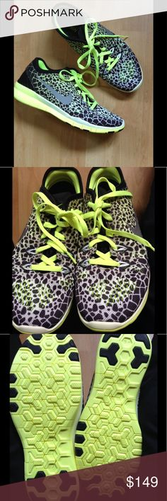 NIKE FREE 5.0 Leopard Animal Print Neon Trim 7 Super fab, one-of-kind pair of Nike Free 5.0 with a vibrant, neon yellow green sole & matching laces. The print is a cool, black & white cheetah (or maybe a mini giraffe) overlaid with an artistic greenish yellow abstract. LOVE these!! Never worn...but definitely ready to be! I think these were some kind of prototype or one-off sample, which is why they are so rare. Save 30% automatically by bundling with 1 or more goodies from my closet. Happt…