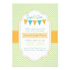 Sip and See Chevron pattern Lime Orange Teal Announcements from Zazzle.com
