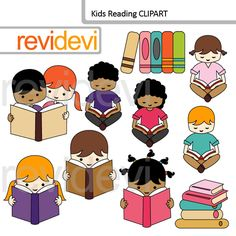 Kids Reading clipart set features multi racial boys and girls reading books. This clip art pack is great for school and classroom projects. Have fun in using these graphics to create mini poster, flyer, learning materials, stickers, and for more creations.